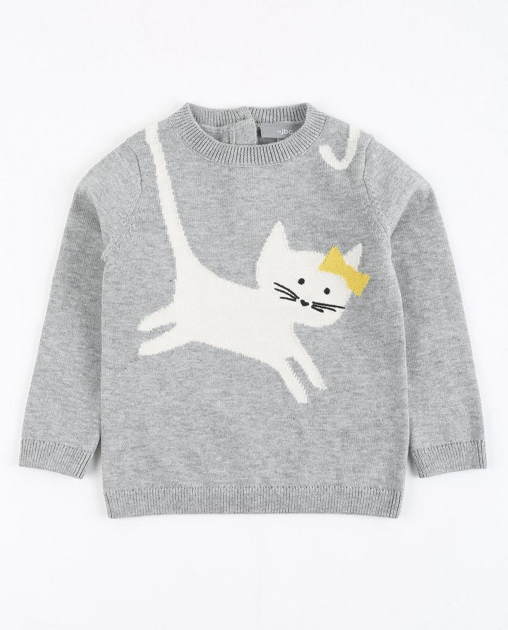 Pullover mit Katze - in Grau - JBC